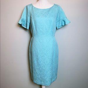 TALBOTS textured short flutter sleeve sheath dress